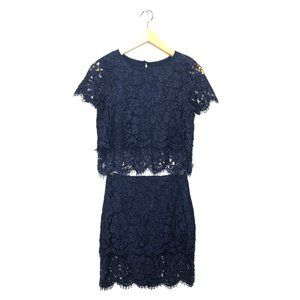 Lulu's Turn Back Time Navy Lace Two-Piece Dress xs